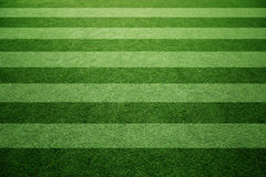 Sunny soccer grass field pattern background. Sunny green soccer or football grass field pattern background. Selective focus used Stock Image