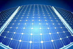 Sunny solar blue shiny panel, closeup Stock Photos