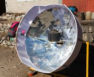Sunny solar cooker, Everest area, Nepal Royalty Free Stock Photography
