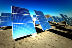 Sunny solar panels in a solar power station Royalty Free Stock Images