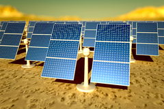 Sunny solar panels in a solar power station Stock Photo
