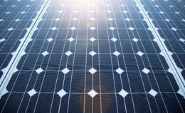 Sunny solar panels. Sun is rising over green tech solar panels Royalty Free Stock Photography