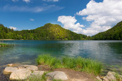 Sunny spot on mountain at lake alatsee Stock Image