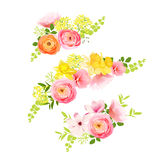 Sunny spring bouquets of rose, ranunculus, narcissus, peony. Stock Photo