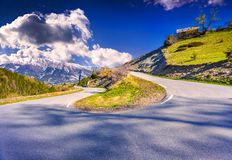 Sunny spring day on the Col de la Bonette pass Royalty Free Stock Image