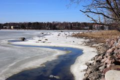 Half-Frozen Baltic Sea During a Sunny Spring Day. Sunny spring day in Finland. The Baltic Sea is still half-frozen but since the sun is shining the summer is royalty free stock photos