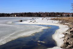 Half-Frozen Baltic Sea During a Sunny Spring Day. Sunny spring day in Finland. The Baltic Sea is still half-frozen but since the sun is shining the summer is stock image