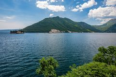 View of Sv.Djordje and Gospa od Skrpjela, Perast stock image