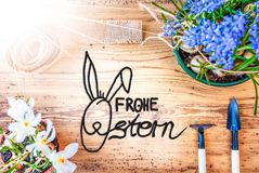 Sunny Spring Flowers, Calligraphy Frohe Ostern Means Happy Easter stock images