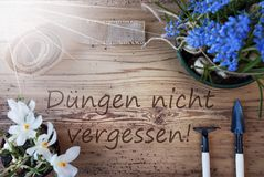 Sunny Spring Flowers, Duengen Nicht Vergessen Means Dont Forget Dung Stock Images