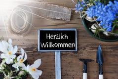 Sunny Spring Flowers, segno, benvenuto di mezzi di Herzlich Willkommen Fotografia Stock Libera da Diritti