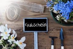 Sunny Spring Flowers, Teken, Gutschein-Middelenbon stock afbeelding