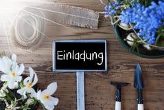 Sunny Spring Flowers, Zeichen, Einladung bedeutet Einladung stockfoto