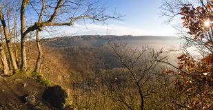 Sunny spring landscape - view over valley Stock Image