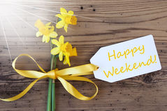 Sunny Spring Narcissus, Etiket, Tekst Gelukkig Weekend Royalty-vrije Stock Foto's