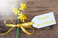 Sunny Spring Narcissus, Label, Text Time To Relax Royalty Free Stock Images