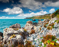 Sunny spring scene in the harbor and cape Milazzo Royalty Free Stock Images
