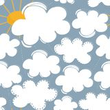 Sunny spring summer day with white clouds and yellow sun Royalty Free Stock Photo
