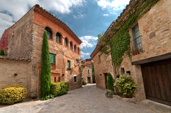 Sunny square , Peratallada, Spain Stock Photo