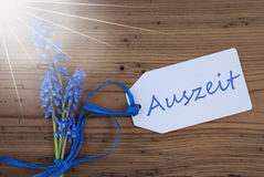 Sunny Srping Grape Hyacinth, Label, Auszeit Means Downtime Royalty Free Stock Photography
