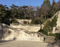 Sunny stairs in a public garden Stock Images