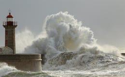 Sunny storm. Big waves in a sunny storm. Portuguese north coast Stock Photo