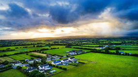 Sunny, stormy day over Tipperary fields, Ireland. Royalty Free Stock Image