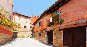 Sunny street of old spanish town Royalty Free Stock Photography