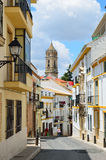 Sunny street of Spanish city Cabra Stock Images