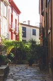 Collioure narrow streets in sunset lighting royalty free stock image