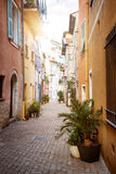 Sunny street in Villefranche-sur-Mer Royalty Free Stock Photo