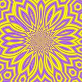 Sunny Summer Abstract Background amarillo y violeta, mandala soleada brillante o fractal floral soleado Imágenes de archivo libres de regalías