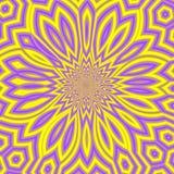 Sunny Summer Abstract Background jaune et violet, mandala ensoleillé lumineux ou fractale florale ensoleillée Images libres de droits
