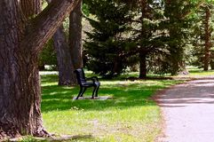 Small Town Park Walkway, High River, Alberta, Canada stock images