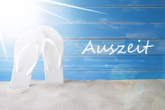 Sunny Summer Background, Auszeit Means Downtime Stock Photo