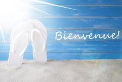 Sunny Summer Background, Bienvenue Means Welcome stock foto's