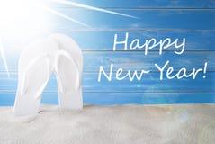 Sunny Summer Background, Feliz Año Nuevo del texto imagen de archivo libre de regalías