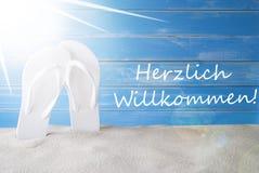 Sunny Summer Background, Herzlich Willkommen significa la recepción fotos de archivo