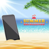 Sunny summer background with phone eps 10 Stock Photos
