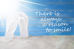 Sunny Summer Background, Quote Always Reason To Smile Royalty Free Stock Photography
