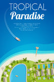 Sunny summer background with tropical hotel and motorboat. Vector illustration, eps10. Stock Photos