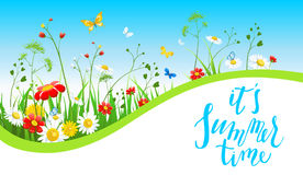 Sunny summer banner. Summer or spring template for design banner, ticket, leaflet, card, poster and so on. Green grass and flowers scenery vector illustration