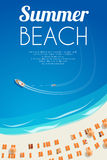 Sunny summer beach background with beach chairs and people. Vector illustration, eps10. Stock Photos