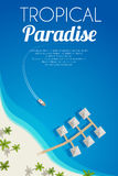 Sunny summer beach background with palms and bungalows. Vector illustration, eps10. Royalty Free Stock Images