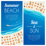 Sunny summer beach vertical banners with beach chairs and people. Vector illustration, eps10. Stock Images