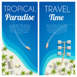 Sunny summer beach vertical banners with palms and bungalows. Vector illustration, eps10. Royalty Free Stock Photo