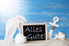 Sunny Summer Card With Alles Gute significa gli auguri Fotografia Stock