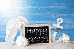 Sunny Summer Card With Text glückliches 2017 Lizenzfreie Stockfotos