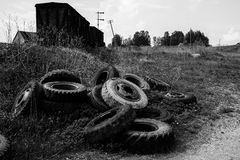 Sunny summer countryside scene - monochrome Royalty Free Stock Images