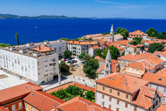 Sunny summer day above old town of Zadar. Panoramic view from height Stock Images